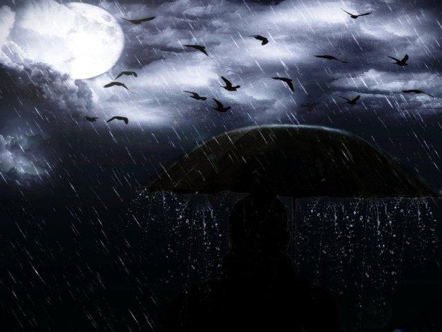 rain and moon