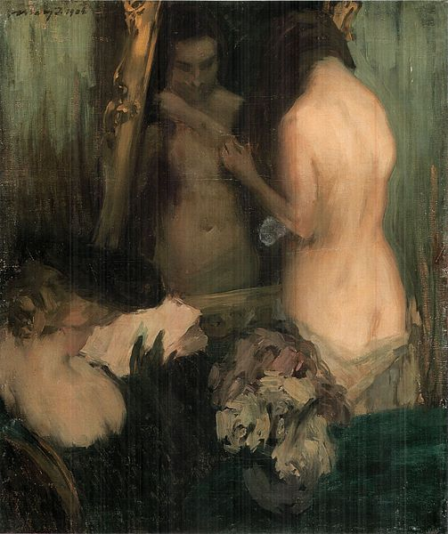 painting woman in mirror